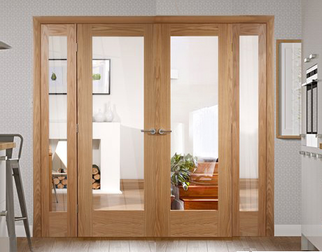 Oak Pattern 10 Easi Frame Room Divider Double Doors