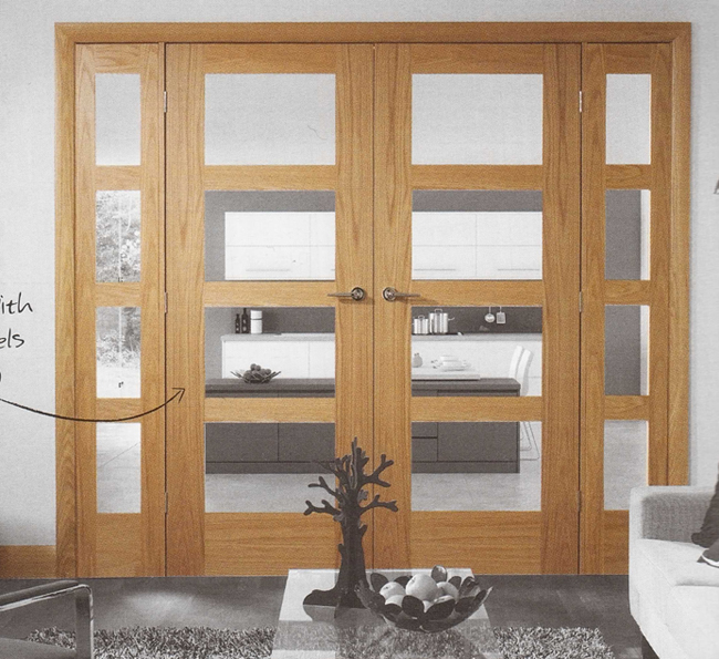 oak shaker easi frame room divider double doors internal and