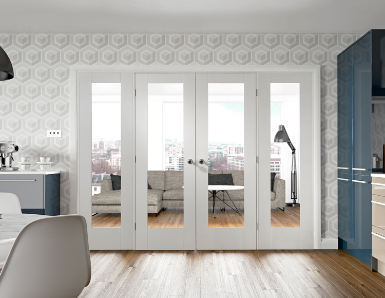 White Pattern (clear glass) 10 Easi-Frame Room Divider: Internal And ...